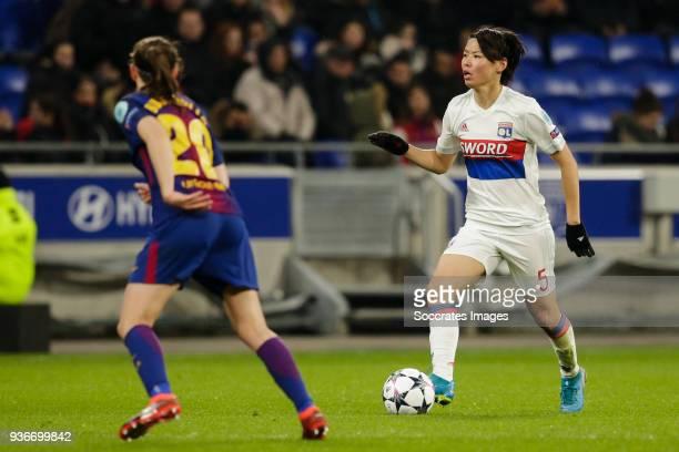 Elise Bussaglia of FC Barcelona Women Saki Kumagai of Olympique Lyon Women during the match between Olympique Lyon Women v FC Barcelona Women at the...