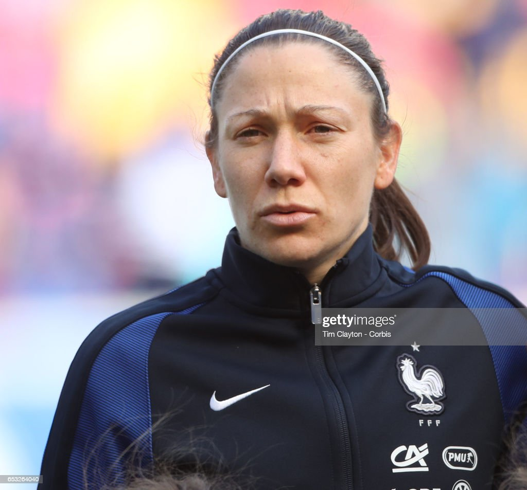 Elise Bussaglia #15 of France during the France Vs Germany SheBelieves Cup International match at Red Bull Arena on March 4, 2017 in Harrison, New Jersey.