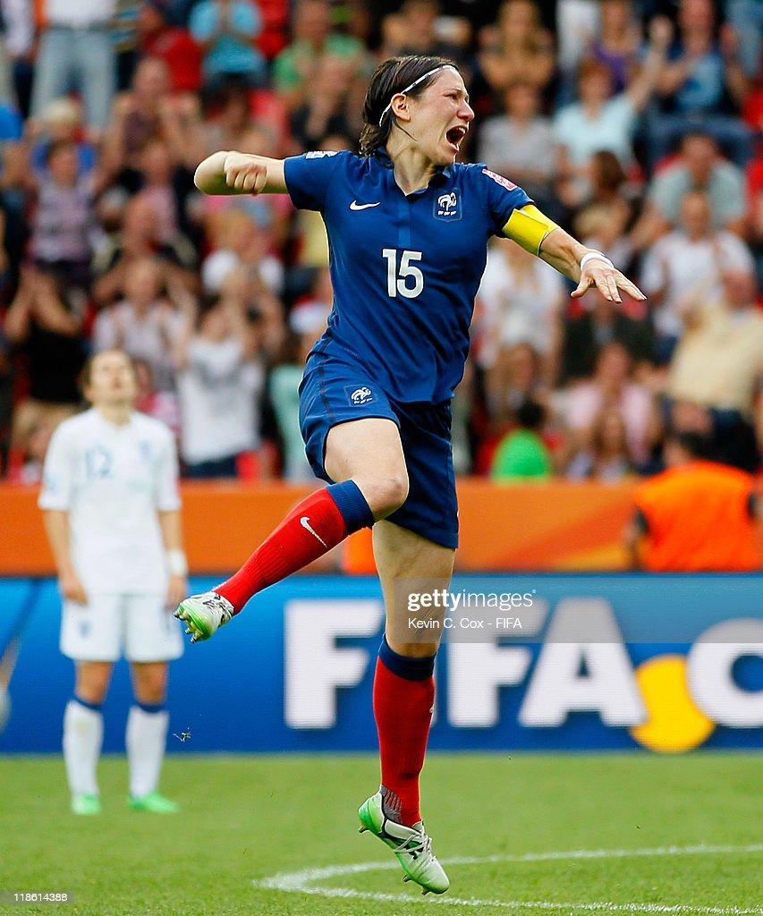 Elise Bussaglia of France reacts after scoring a goal against England during the FIFA Women's World Cup 2011 Quarter Final match between England and France at the FIFA Women's World Cup Stadium Leverkusen on July 9, 2011 in Leverkusen, Germany.