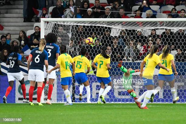 Elise Bussaglia of France scores a goal during the International Women match between France and Brazil at Allianz Riviera Stadium on November 10 2018...