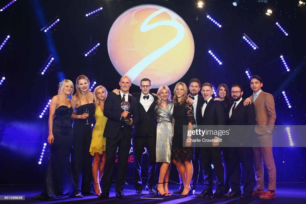 Elise Christie and Shaolin Sándor Liu presents the Agency of the Year award to M&C Saatchi Sport & Entertainment during the BT Sport Industry Awards 2018 at Battersea Evolution on April 26, 2018 in London, England. The BT Sport Industry Awards is the largest commercial sports awards in the world. Bringing together sports stars, celebrities, senior decision makers, influencers and global media, the industry's most anticipated night of the year celebrates the very best work from across the sector.