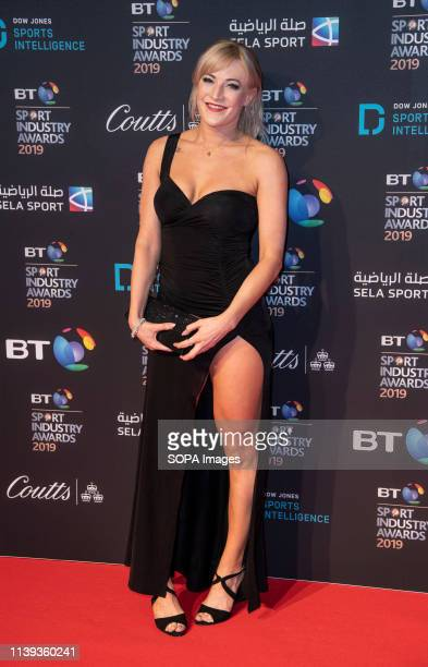 Elise Christie appears on the red carpet ahead of the BT Sport Industry Awards 2019 at Battersea Evolution.