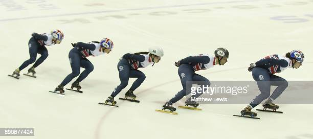 Elise Christie Charlotte Gilmartin Kathryn Thomson Josh Cheetham and Farrell Treacy of Great Britain pictured during a media day for the Athletes...