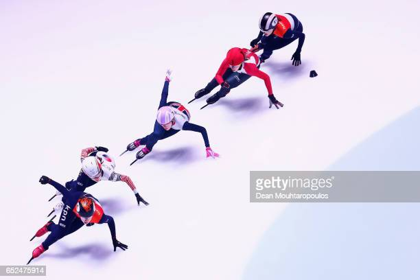 Elise Christie of Great Britain #2 Marianne StGelais of Canada #5 Suzanne Schulting of the Netherlands #51 Rianne De Vries of the Netherlands and...