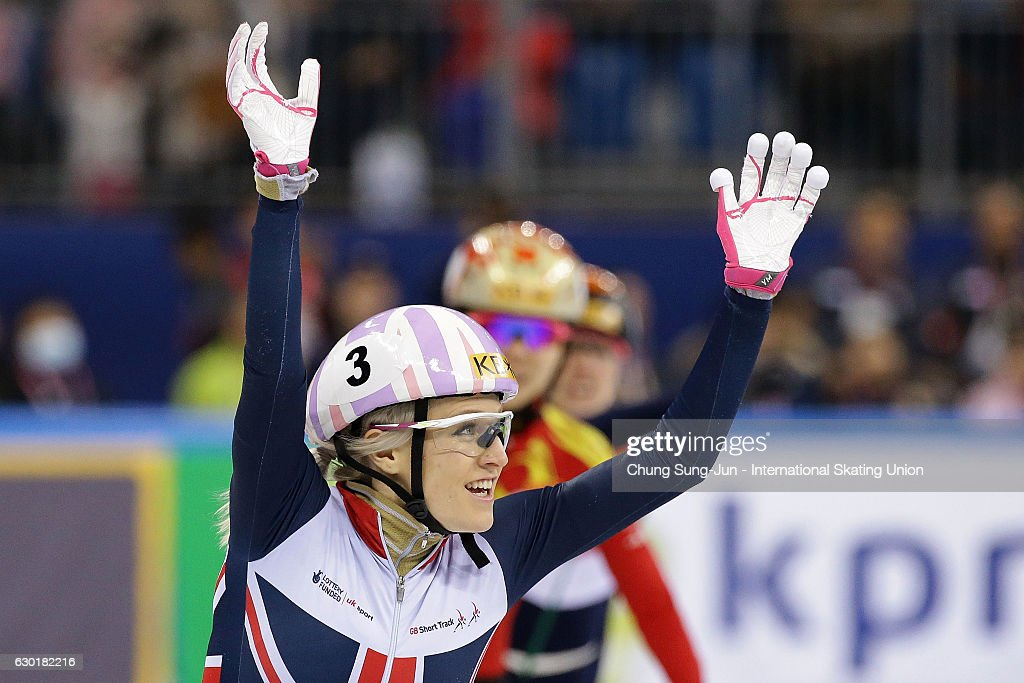 Elise Christie of Great Britain celebrates after winning the Ladies 1000m Finals during the ISU World Cup Short Track 2016 on December 18, 2016 in Gangneung, South Korea.