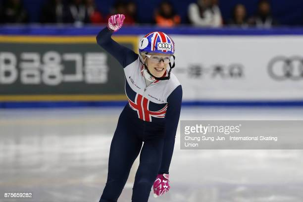 Elise Christie of Great Britain celebrates after winning the Ladies 500m Final A during the Audi ISU World Cup Short Track Speed Skating at Mokdong...
