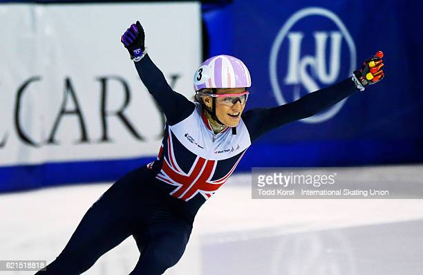 Elise Christie of Great Britain celebrates her first place finish in the women's 500 meter final during the ISU World Cup Short Track Speed Skating...