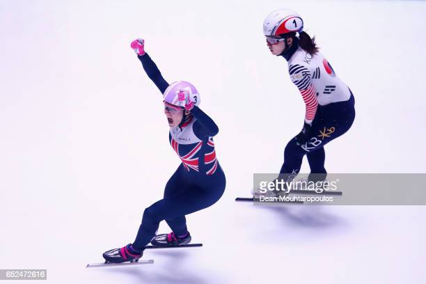 Elise Christie of Great Britain celebrates victory after she competes on day two in the 1000m Ladies Final at ISU World Short track Speed Skating...