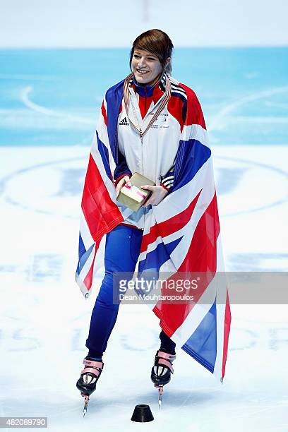 Elise Christie of Great Britain celebrates winning the Womens 1500m final gold medal during day 2 of the ISU European Short Track Speed Skating...