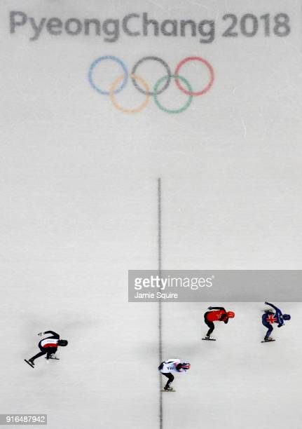 Elise Christie of Great Britain Chunyu Qu of China Sukhee Shim of Korea and Veronique Pierron of France compete during the Ladies' 500m Short Track...
