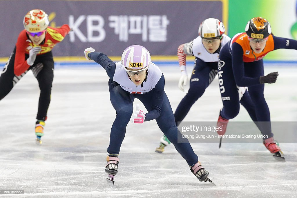 Elise Christie of Great Britain compete in the Ladies 1000m Finals during the ISU World Cup Short Track 2016 on December 18, 2016 in Gangneung, South Korea.