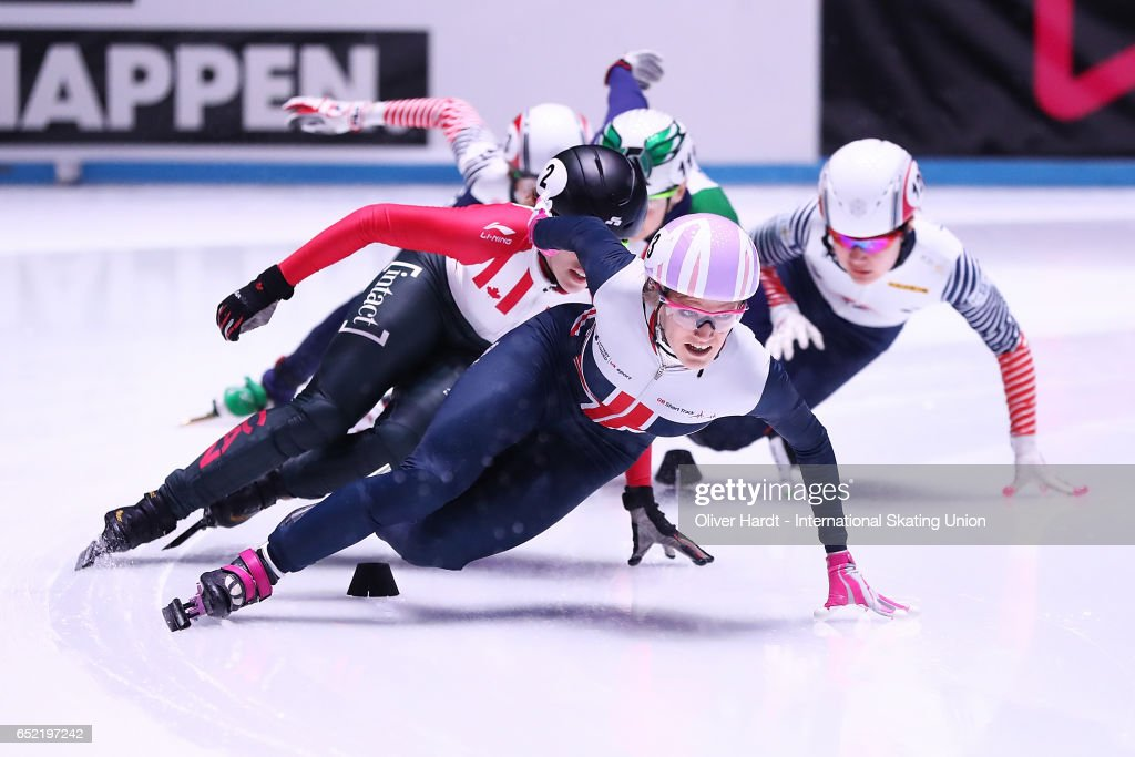 Elise Christie of Great Britain competes during the Ladies 500m finals race during day one of ISU World Short Track Championships at Rotterdam Ahoy Arena on March 11, 2017 in Rotterdam, Netherlands.