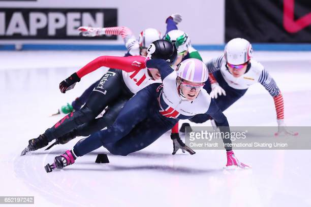 Elise Christie of Great Britain competes during the Ladies 500m finals race during day one of ISU World Short Track Championships at Rotterdam Ahoy...
