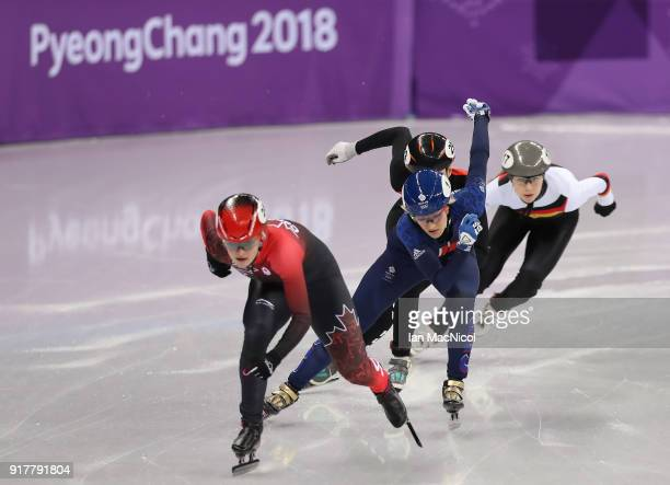 Elise Christie of Great Britain competes during the Short Track Speed Skating Women's 500m final on day four of the PyeongChang 2018 Winter Olympic...