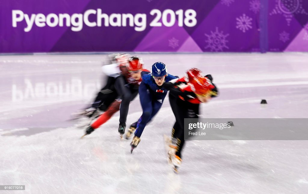 Elise Christie of Great Britain competes during the Short Track Speed Skating Ladies' 1500m heats on day eight of the PyeongChang 2018 Winter Olympic Games at Gangneung Ice Arena on February 17, 2018 in Gangneung, South Korea.