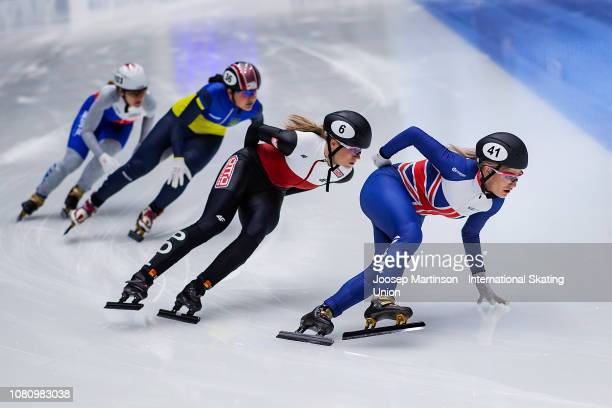 Elise Christie of Great Britain competes in the Ladies 1000m heat 2 during the ISU European Short Track Speed Skating Championships at Sportboulevard...