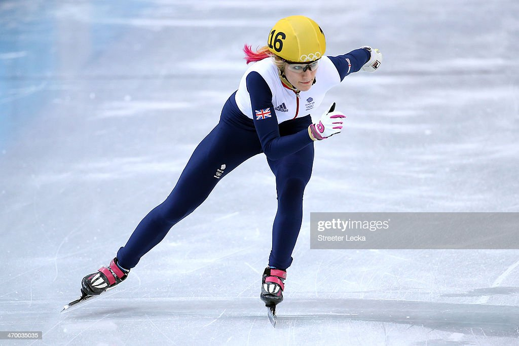 Elise Christie of Great Britain competes in the Short Track Ladies' 1000m Heat at Iceberg Skating Palace on day 11 of the 2014 Sochi Winter Olympics on February 18, 2014 in Sochi, Russia.
