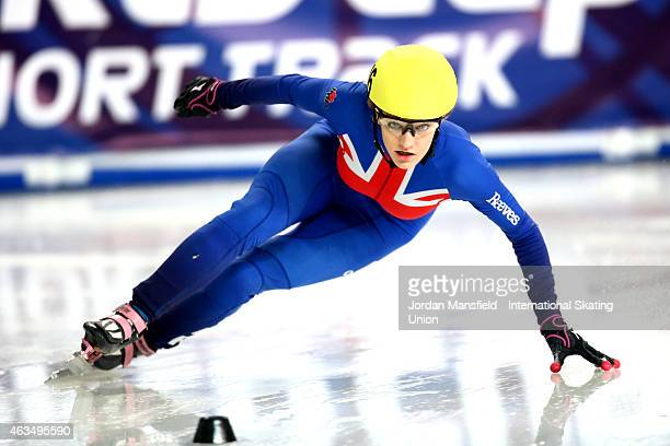 Elise Christie of Great Britain competes in the Women's 500m quarterfinals on day two of the ISU World Cup Short Track Speed Skating on February 15...
