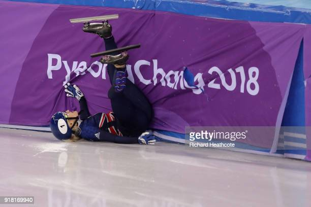 Elise Christie of Great Britain crashes during the Ladies' 500m Short Track Speed Skating final on day four of the PyeongChang 2018 Winter Olympic...