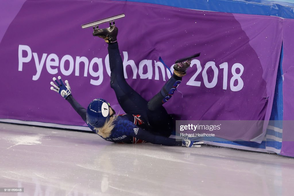 Elise Christie of Great Britain crashes during the Ladies' 500m Short Track Speed Skating final on day four of the PyeongChang 2018 Winter Olympic Games at Gangneung Ice Arena on February 13, 2018 in Gangneung, South Korea.