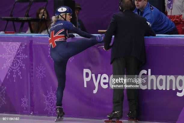 Elise Christie of Great Britain crashes out competes during the Ladies Short Track Speed Skating 1000m Heats on day eleven of the PyeongChang 2018...