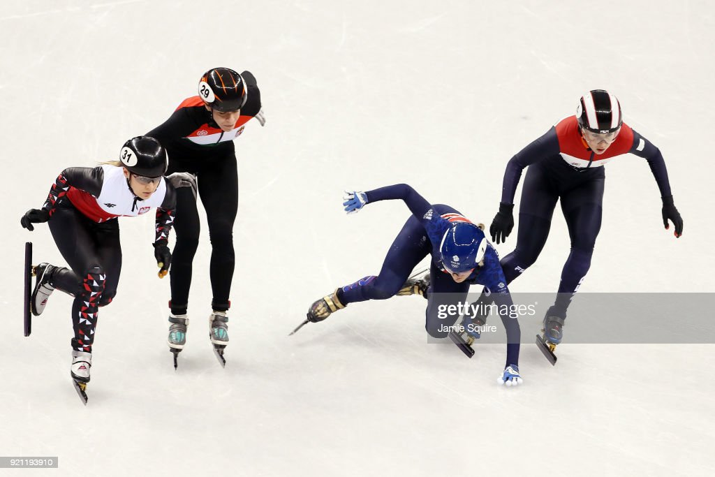 Elise Christie of Great Britain crashes out during the Ladies Short Track Speed Skating 1000m Heats on day eleven of the PyeongChang 2018 Winter Olympic Games at Gangneung Ice Arena on February 20, 2018 in Gangneung, South Korea.