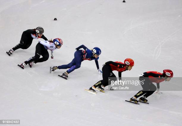 Elise Christie of Great Britain during the Short Track Speed Skating Ladies' 1500m on day eight of the PyeongChang 2018 Winter Olympic Games at...