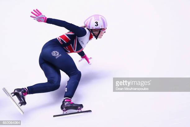 Elise Christie of Great Britain in action as she competes in the 1500m Ladies race final at ISU World Short track Speed Skating Championships held at...