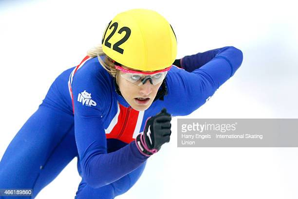 Elise Christie of Great Britain in action during the Ladies' 500m Semifinals on day two of the ISU World Short Track Speed Skating Championships at...