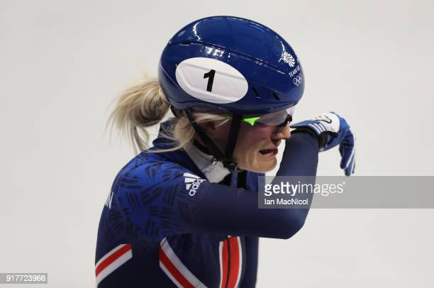 Elise Christie of Great Britain is seen after falling during the Short Track Speed Skating Women's 500m final on day four of the PyeongChang 2018...