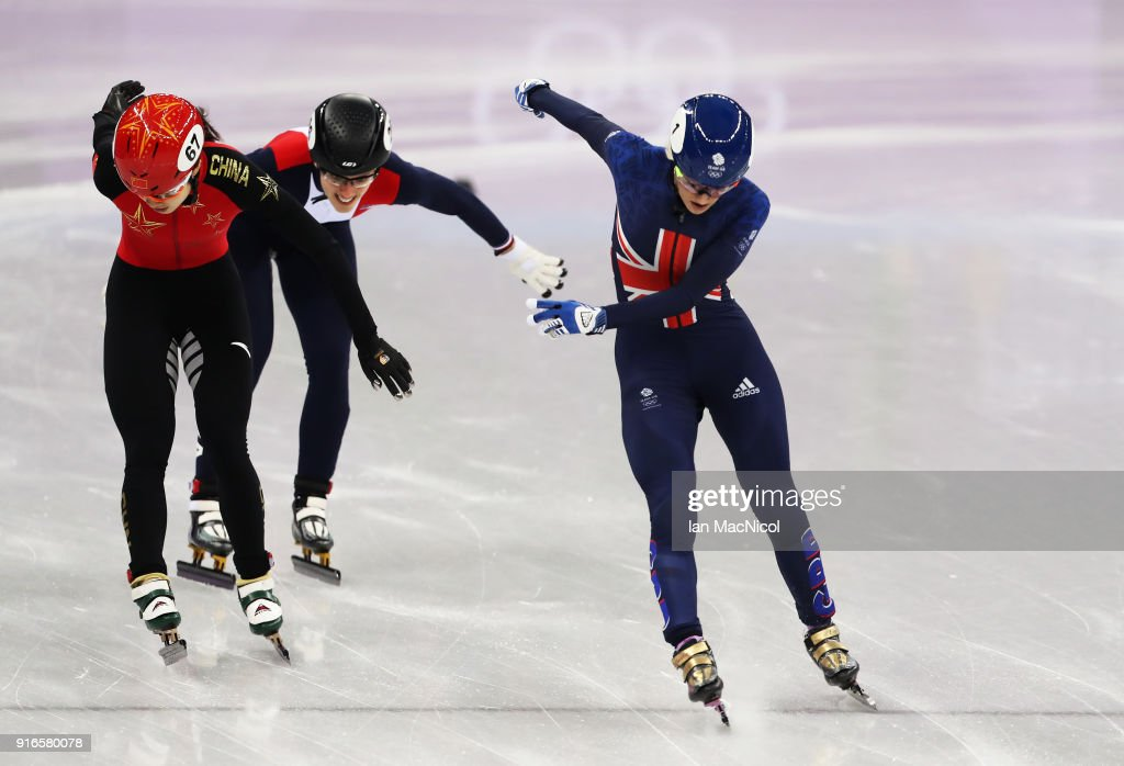 Elise Christie of Great Britain is seen during the Women's 500m heats of the Short Track Speed Skating on day one of the PyeongChang 2018 Winter Olympic Games at Gangneung Ice Arena on February 10, 2018 in Gangneung, South Korea.