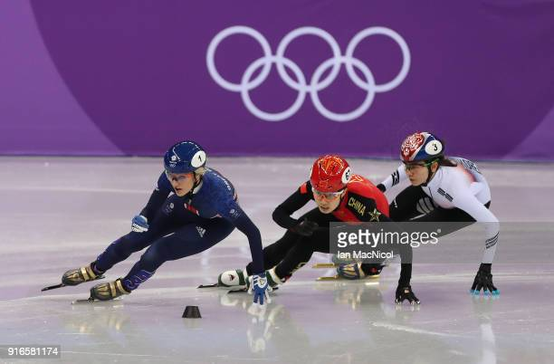 Elise Christie of Great Britain is seen during the Women's 500m heats of the Short Track Speed Skating on day one of the PyeongChang 2018 Winter...
