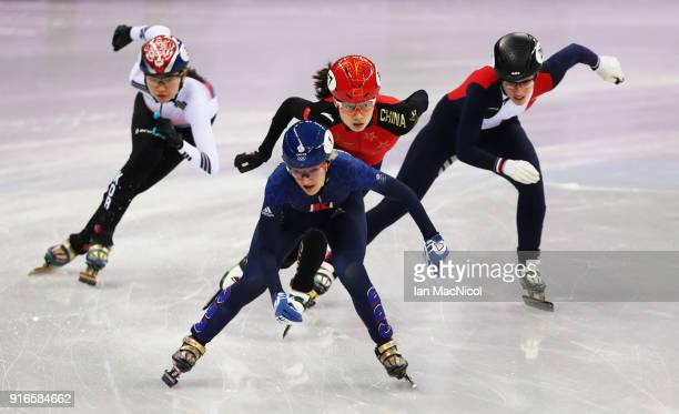 Elise Christie of Great Britain is seen racing during the Women's 500m heats of the Short Track Speed Skating on day one of the PyeongChang 2018...