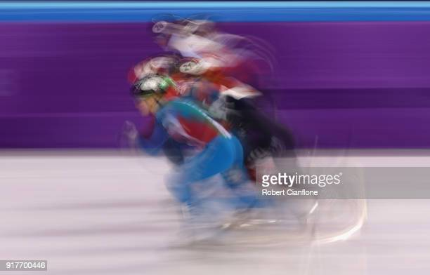 Elise Christie of Great Britain Kim Boutin of Canada Andrea Keszler of Hungary and Anna Seidel of Germany compete during the Ladies' 500m Short Track...
