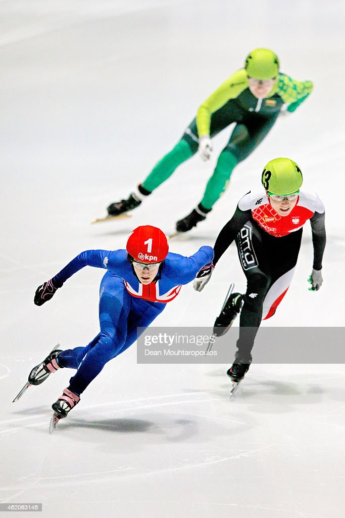 #1 Elise Christie of Great Britain leads and goes on to win the Ladies 500m final gold medal during day 2 of the ISU European Short Track Speed Skating Championships at The Sportboulevard on January 24, 2015 in Dordrecht, Netherlands.