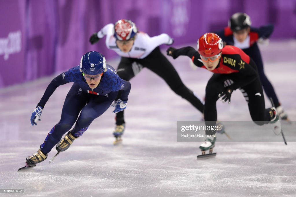Elise Christie of Great Britain leads during the Ladies' 500m Short Track Speed Skating qualifying on day one of the PyeongChang 2018 Winter Olympic Games at Gangneung Ice Arena on February 10, 2018 in Gangneung, South Korea.