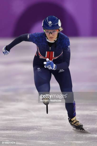 Elise Christie of Great Britain leads during the Ladies' 500m Short Track Speed Skating qualifying on day one of the PyeongChang 2018 Winter Olympic...