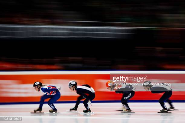 Elise Christie of Great Britain leads the pack in the Ladies 1500m final during the ISU European Short Track Speed Skating Championships at...