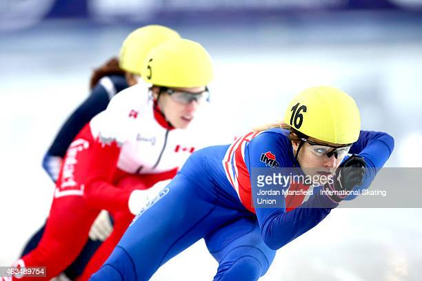 Elise Christie of Great Britain leads the pack into the corner during the Women's 500m semifinals on day two of the ISU World Cup Short Track Speed...