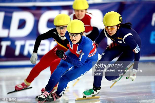 Elise Christie of Great Britain leads the pack into the first corner during the Women's 500m quarterfinals on day two of the ISU World Cup Short...