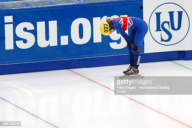 Elise Christie of Great Britain looks dejected after crashing out of the Ladies' 1500m Semifinals on day two of the ISU World Short Track Speed...