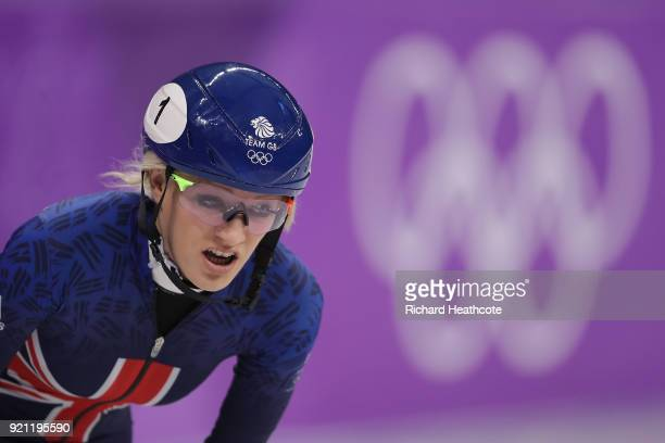 Elise Christie of Great Britain looks dejected after crashing out during the Ladies Short Track Speed Skating 1000m Heats on day eleven of the...
