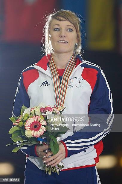 Elise Christie of Great Britain poses with her Silver medal following the Ladies' 500m Final on day two of the ISU World Short Track Speed Skating...