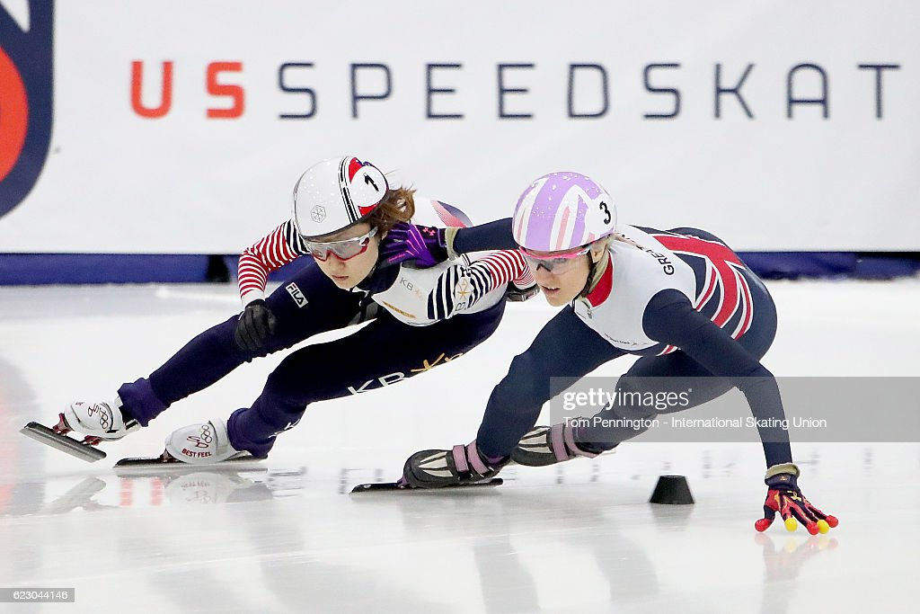 Elise Christie of Great Britain pushes off of Minjeong Choi of Korea during in the Ladies 500 meter Semifinals during the ISU World Cup Short Track Speed Skating event on November 13, 2016 in Salt Lake City, Utah.
