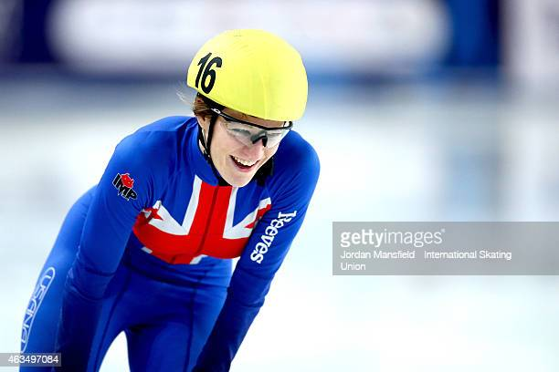 Elise Christie of Great Britain reacts after coming 3rd in the Women's 500m A final on day two of the ISU World Cup Short Track Speed Skating on...