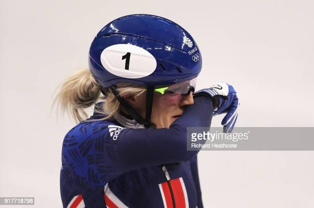 Elise Christie of Great Britain reacts after crashing during the Ladies' 500m Short Track Speed Skating final on day four of the PyeongChang 2018...