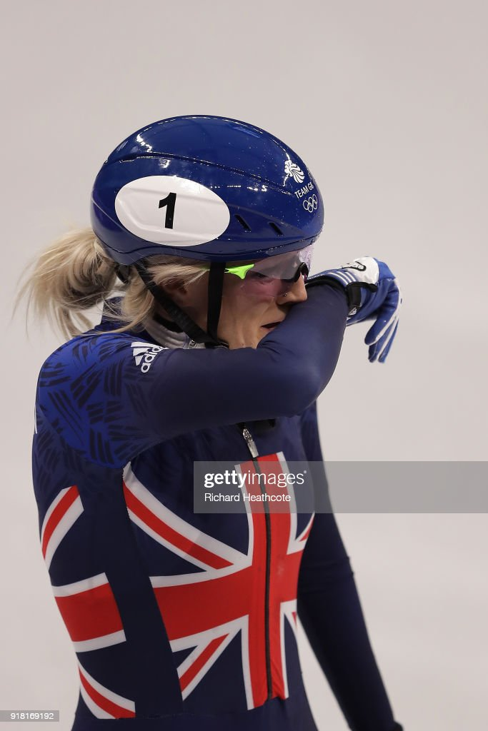 Elise Christie of Great Britain reacts after crashing during the Ladies' 500m Short Track Speed Skating final on day four of the PyeongChang 2018 Winter Olympic Games at Gangneung Ice Arena on February 13, 2018 in Gangneung, South Korea.