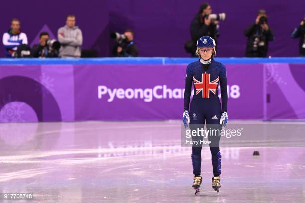 Elise Christie of Great Britain reacts after her race during the Ladies' 500m Short Track Speed Skating quarterfinal on day four of the PyeongChang...