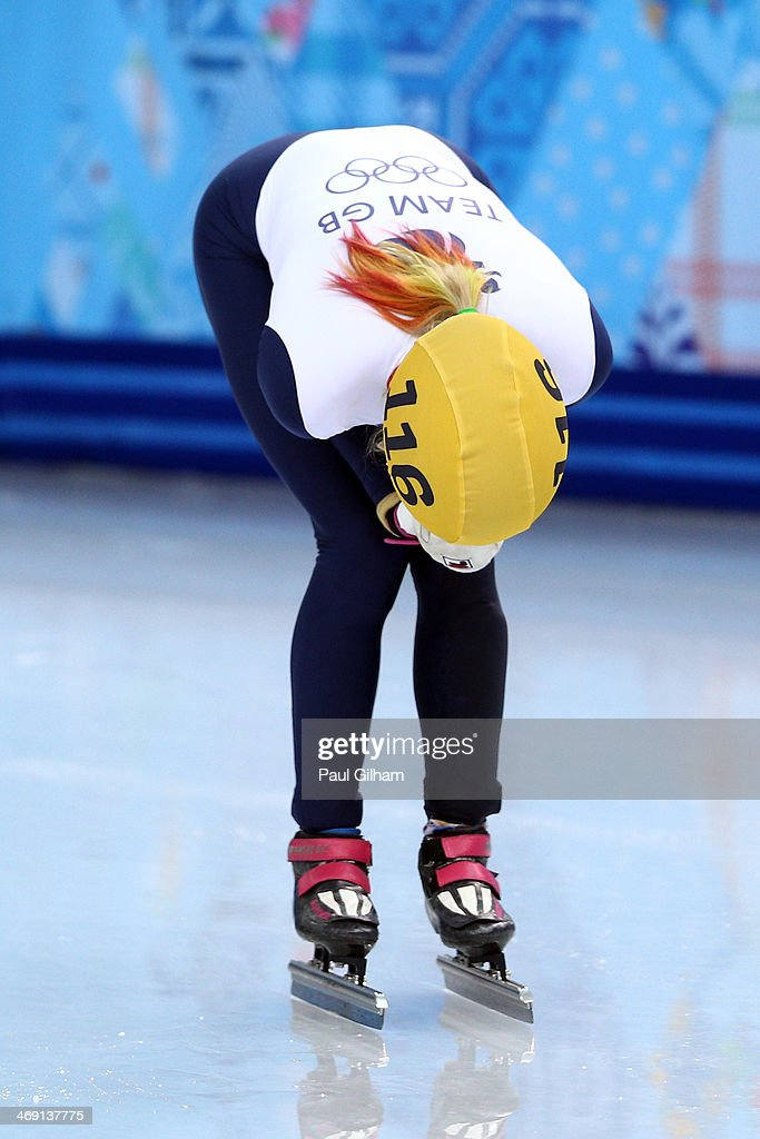 Elise Christie of Great Britain reacts as she fails to win a medal in the Short Track Speed Skating Ladies' 500 m Final on day 6 of the Sochi 2014 Winter Olympics at at Iceberg Skating Palace on February 13, 2014 in Sochi, Russia.