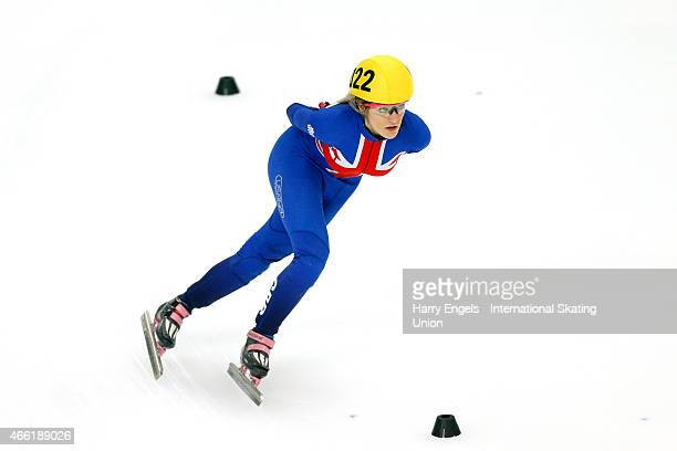 Elise Christie of Great Britain skates to the finish line after crashing during the Ladies' 1500m Semifinals on day two of the ISU World Short Track...